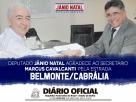 DEPUTADO JÂNIO NATAL AGRADECE AO SECRETÁRIO MARCUS CAVALCANTI PELA ESTRADA BELMONTE/CABRÁLIA